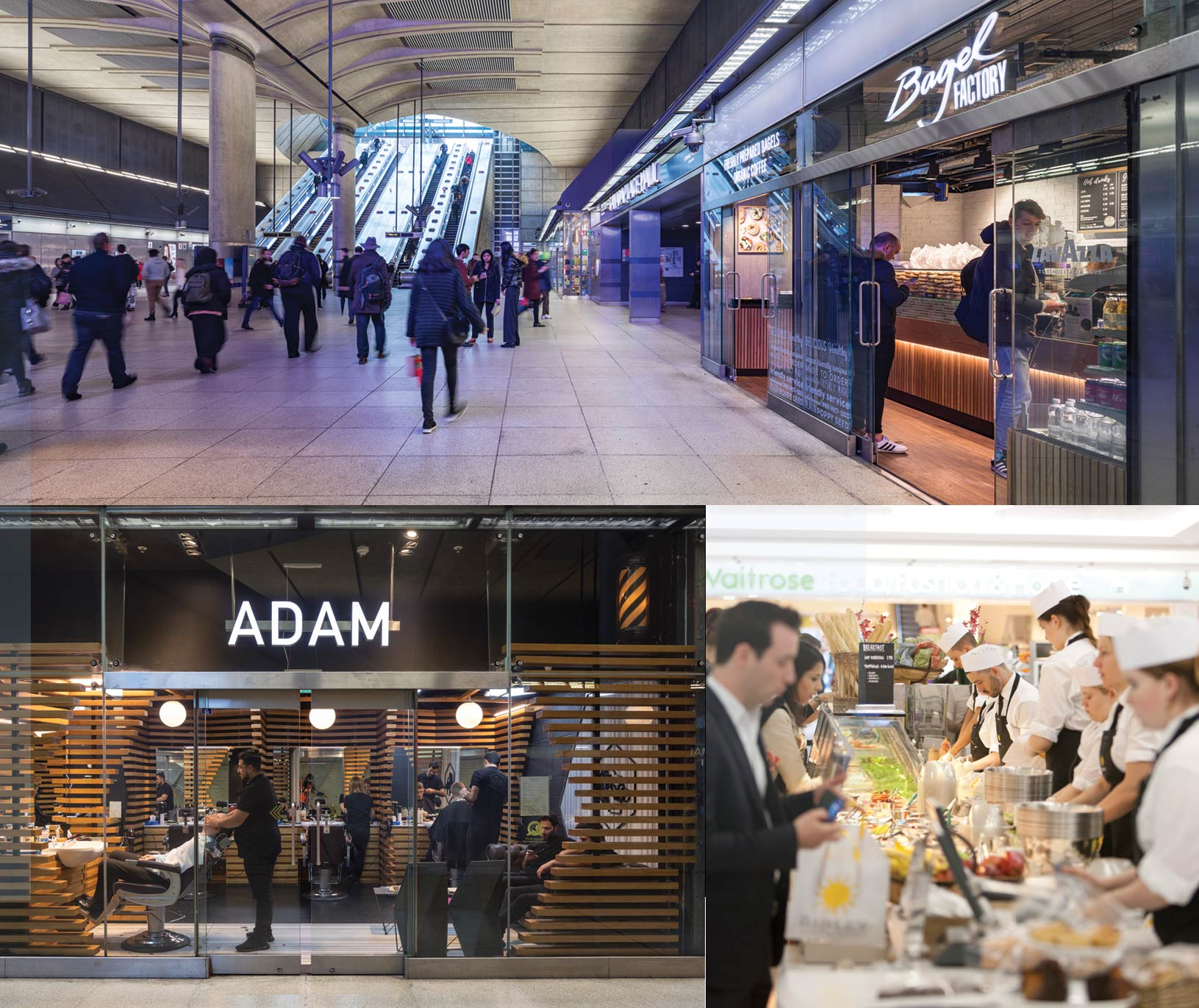 grid view of canary wharf train station retail units